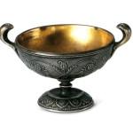 """Coppa Boscoreale Calice, 1923, in argento inciso ad """"ornato"""", con fodera interna in ottone  dorato"""